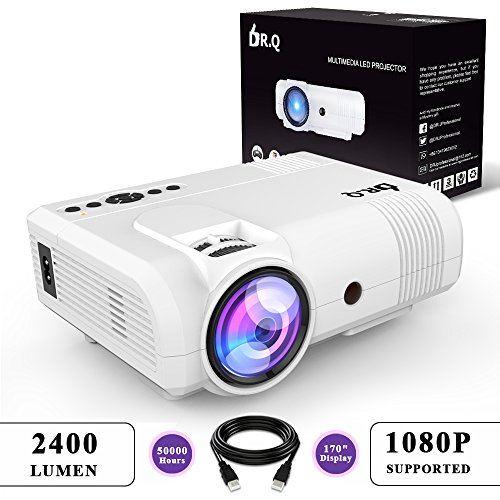 dr q 2400 lumen beamer 20 bildhelligkeit mini beamer mit 170 display 50000 stunden video. Black Bedroom Furniture Sets. Home Design Ideas