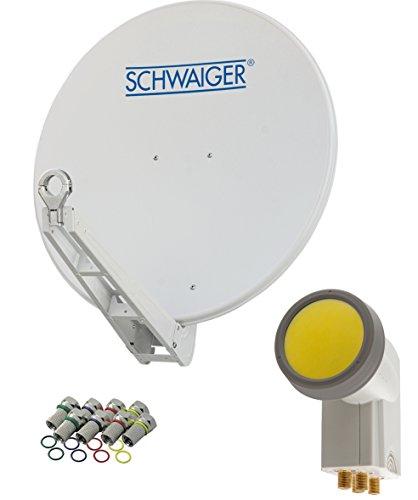 schwaiger 4623 sat anlage satellitensch ssel mit quad lnb digital 8 f steckern 7 mm sat